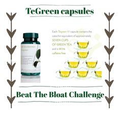 Beat The Bloat With The Lean Green Challenge 30 days taking one of our TeGreen Capsules ⭐️Watch the bloat reduce ⭐️improve your metabolism ⭐️watch your energy levels rise ⭐️boost your immune system. capsule is the equivalent to 7 CUPS ☕️️of green tea Tegreen Capsules, Green Tea Capsules, Nu Skin, Beauty Bar, Beauty Skin, Ageless Beauty, Busy At Work, Healthy Lifestyle Tips, Boost Metabolism