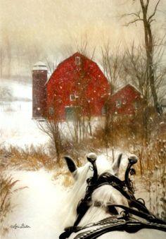 WORK-HORSE-HEADING-BACK-RED-BARN-Christmas-Cards-Leanin-039-Tree-10PK-USA-NIB