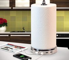 Paper Towel USB Charger Hub - http://www.gadgets-magazine.com/paper-towel-usb-charger-hub/
