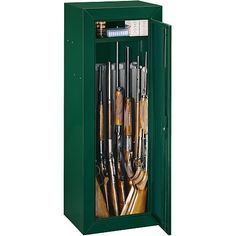 Stack-On 14 Gun Compact Gun Cabinet Keyed Lock-Curb W/Lgate Delivery by STACK-ON. $199.99. The Stack-On® gun cabinets provide great entry-level security for firearms and valuables. These all-steel cabinets are built with 3-point locking systems that secure the door at the top, bottom and opening side of the door. A full-length, piano-type steel hinge runs the length of the door for greater security.