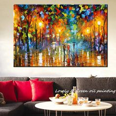 Large Handpainted Lovers Rain Stree Tree Lamp Landscape Oil Painting On Canvas Wall Art Picture For Home Decoration Wall Decor-in Painting & Calligraphy from Home & Garden on Aliexpress.com | Alibaba Group