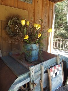 Spring Tulips in an old blue bucket.love that color contrast! Country Blue, Country Decor, Country Living, Prim Decor, Primitive Decor, Spring Has Sprung, Porch Decorating, Decorating Ideas, Spring Time