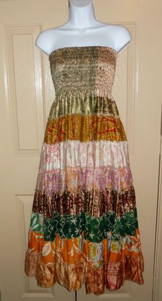 Floating Lotus boho strapless dress gold green 100% silk made in India one size #FloatingLotus