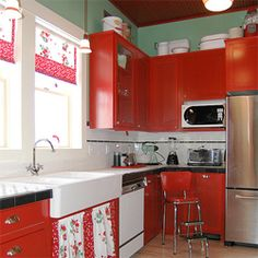 Red in kitchens is uplifting and energetic and make you hungry!