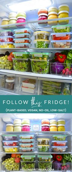 Fridge 24 out of 52 - I'm sharing a year's worth of plant-based, whole food, vegan, & nutritarian food preps in my fridge on my Instagram account!  Click through to check out my collection of #52fridges and make sure to read my blog post on how my family of 4 shares our fridge here: http://hellonutritarian.com/eat-live-fridge/ xo, Kristen #refrigerator #fridgeorganization #wholefoodplantbased #drfuhrman #drgreger #hownottodie