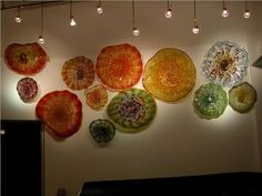 blown glass platter sculpture customized for the colors of your interior design glass wall artglass