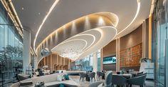 帝典斯非标灯饰  电话:13631582176(微信同号)专业定制设计非标工程灯具,具有创新能力以及设计能力的一只强大的队伍,承接国内外各大酒店售楼部样板房豪宅会所灯具的设计与生产。 Arch Interior, Interior Architecture, Interior Design, Lobby Lounge, Hotel Lobby, Beijing Hotels, Futuristic Interior, Hotel Reception, Counter Design