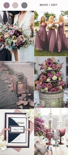 Best 6 Mauve Wedding Color Combos for 2019 mauve purple and grey vintage wedding colors ideas / www. Vintage Wedding Colors, Gray Wedding Colors, Mauve Wedding, Wedding Color Schemes, Wedding Flowers, Winter Wedding Colors, Wedding Theme Purple, Marine Wedding Colors, Spring Wedding Themes