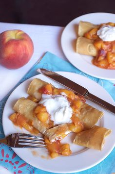 Peach Pie Enchiladas Recipe on FamilyFreshCooking.com © MarlaMeridith.com #breakfast #snack #dessert