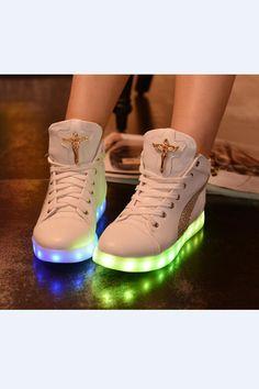 862fe757a White Chrome Hearts High Top Light LED Shoes Women s Shoes