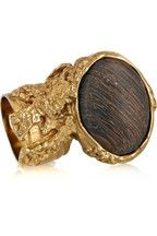 YSL wood and gold ring