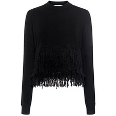 Mcq Alexander Mcqueen - Fringe Sweater ($380) ❤ liked on Polyvore featuring tops, sweaters, crew neck top, cropped sweater, cut-out crop tops, ribbed sweater and fringe sweater