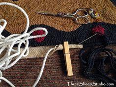 Binding a Hooked Rug - ThreeSheepStudio.com
