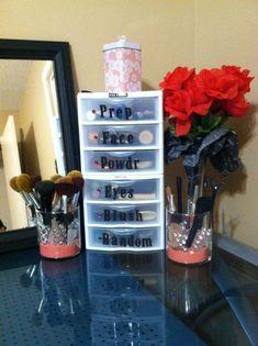 Organización de cosméticos.