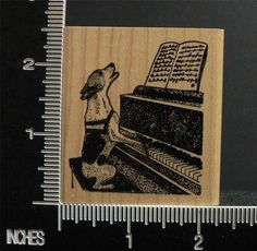 FUNNY DOG SINGING PLAYING THE PIANO rubber stamp BY KEN BROWN STAMPS