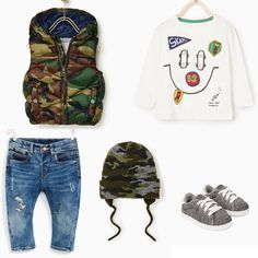 Baby boy outfit from Zara. Padded military style vest, t-shirt with picture, jeans, military-style hat and trainers. Zara 2017 winter-spring collection.
