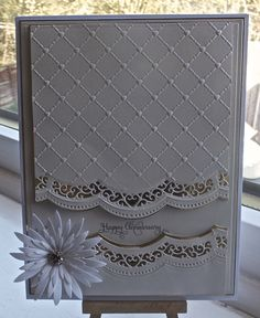 Hello, me again, I have another card to show, I have used SB Grand rectangles, Sue Wilson heart lattice embossing folder, SB delicate asters, SB A2 scalloped borders one, the stamp is justrite ever after.