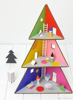 cartón de Navidad Arbol de casa de muñecas / cartón DIY