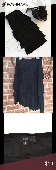 """KAREN KANE ruffled skirt Gorgeous black ruffled skirt by Karen Kane! 20"""" long. 96% rayon 6% spandex. Karen Kane Skirts"""