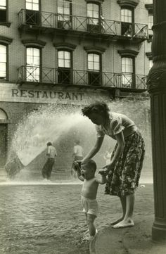 +~+~ Vintage Photograph ~+~+  Mother and son beating the heat in New York.  By Ruth Orkin.