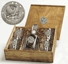 U.S. Army Capitol Decanter Boxed Gift Set with Pewter Emblems $165.00