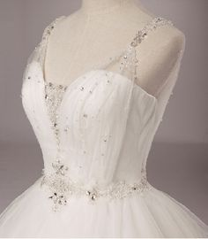Romantic Princess White Tulle Straps Beaded Sweetheart A-line Ball Gown Wedding Dress