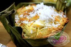 """Special Bibingka na Galapong Recipe is a traditional Filipino kakanin, a baked rice flour cake with soft, slightly dense, moist and tasty. This rice cake called """"Bibingka"""" is usually made from rice flour, coconut milk, fresh milk, eggs, sugar, coconut strings and margarine."""