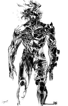 This image is taken from 'Metal Gear Rising', it is a highly detailed manga styled image which exaggerates the characters bionic side. Fine lines and different shades of black have been used which adds a strange artistic style that makes me both fear and admire the character. A dark mood also resonates here with the feeling of revenge that comes from the character and his direct mode of address.