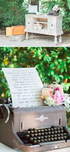 bible guestbook with typewriter instructions