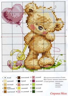 Cross Stitch Chart Cute Teddy Bear