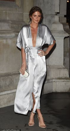 Millie Mackintosh.. Reformation Warhol wrap dress, Alexander McQueen clutch, and Stuart Weitzman Nudist heels..