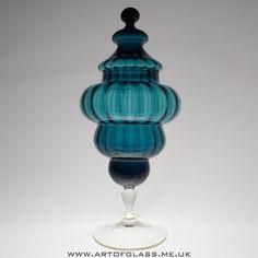 Italian Empoli oversized teal blue pedestal glass candy jar/trinket box.