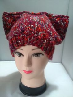 A lovely warm and cosy beanie hat with cats ears. This has a ribbed hem and is adult size. It is in a chunky mix acrylic yarn in wine, red and grey. A lovely fun hat for the cooler days. Ear Hats, Beanie Hats, Flower Spray, Holly Berries, Cool Hats, Red And Grey, Cat Ears, My Etsy Shop, Wine