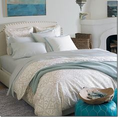 Tranquil blue, sand and white bedroom design by Serena & Lily #bedroom #design #blue