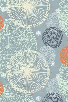 Geodesic in Slate Blue by Friztin - Slate blue, gray, orange and yellow geometric shapes. Hand drawn geometry on fabric, wallpaper, and gift wrap.