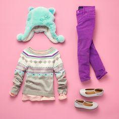 Girls' fashion | Kids' clothes | Faux fur cat hat | Printed sweater | Corduroy pants | T-strap flats | The Children's Place
