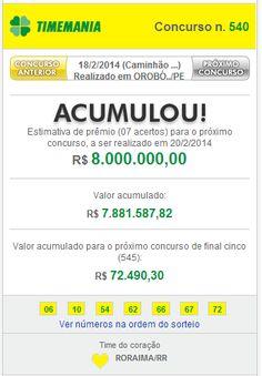 Hoje você pode ganhar 8 Milhões na Timemania Concurso 541 $ Caixa Loterias - Palpites e Dicas Grátis Lotofácil