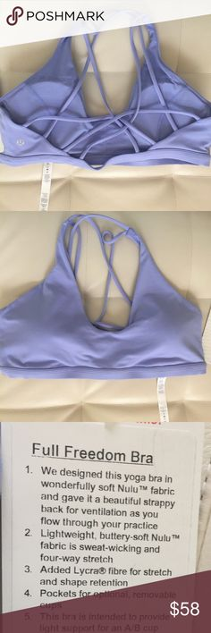 NWT HYGB LULULEMON FULL FREEDOM BRA - - Size 12 Brand: lululemon athletica full freedom bra with pads              Condition: New with tag || Size 12 || Hydrengea blue   📌NO  TRADES  🛑NO LOWBALL OFFERS  ⛔️NO RUDE COMMENTS  🚷NO MODELING  ☀️Please don't discuss prices in the comment box. Make a reasonable offer and I'll either counter, accept or decline.   I will try to respond to all inquiries in a timely manner. Please check out the rest of my closet, I have various brands. Some new with…