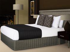 "Coverlet - ""Brunei"" Jet, Large Decorative Cushion - ""Apollo"" Black, Bed Valance ""Siam"" Pewter #hotelhome #hotelcushion #hotelcoverlet #coverlet"