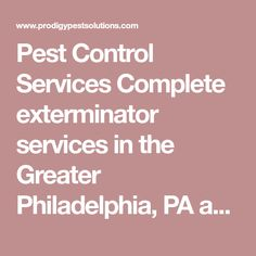 Pest Control Services Complete exterminator services in the Greater Philadelphia, PA and Jersey Shore areas.