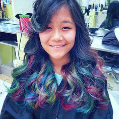 The filter on this sucks but stays true to hair color #gradhair #graduation #pravanavivids #olaplex #iamlorealpro #lorealpro #yourafter @yourspace_salons #skittles #funkycolors  #rainbowhair #pravana #funkyhair #torontostylist #hairpainting #hairbyme