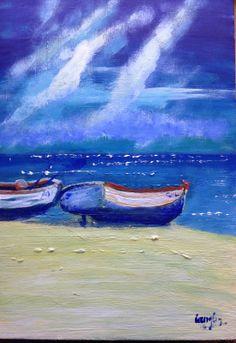 "Boats on Yellow. Acrylic. 11x16"" box canvas"