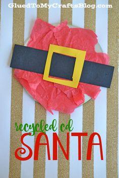 Recycled CD Santa - Kid Craft