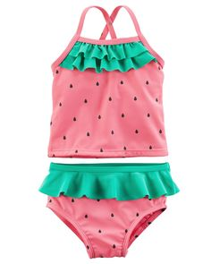 Protect your little one from the sun with this oh-so cute tankini, equipped with UPF 50+ sun protection and sweet watermelon detail.