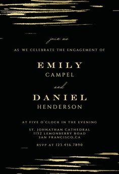 Golden strokes - Engagement Party Invitation #invitations #printable #diy #template #Engagement #party #wedding Engagement Party Invitations, Party Wedding, Rsvp, Printable, Island, Templates, Diy, Free, Stencils