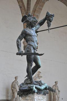 Florence - Palazzo Vecchio and Piazza della Signoria - Perseus With the Head of Medusa Ancient Greek Sculpture, Greek Statues, Ancient Art, Buddha Statues, Stone Statues, Medusa Art, Roman Sculpture, Bronze Sculpture, Greek And Roman Mythology