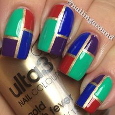 Color Blocking. used all #ulta3 @ulta3 polishes for this one.  Gold rush fever for the base and the 4 colours are Sizzling Red, Blue Marlin, Mojito (green) @nailingaround- #webstagram