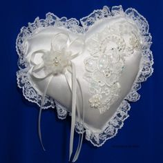 ivory ring bearer pillow with flower ribbon and by Hoalanebridal, $28.00