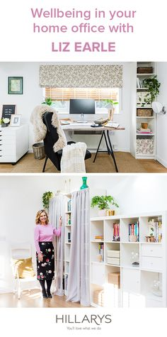 Voile curtains don't just have to sit at the window. Hide the clutter in your home office by adding them to bookshelves - another top tip from Liz Earle.