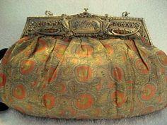 Antique Art Nouveau Silk Purse Jeweled Frame Handbag